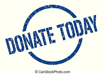 donate today blue round stamp