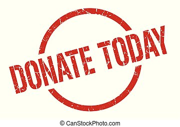 donate today red round stamp