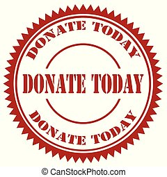 Red stamp with text Donate Today, vector illustration