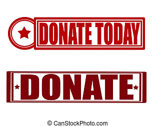Stamp with text donate today inside, vector illustration
