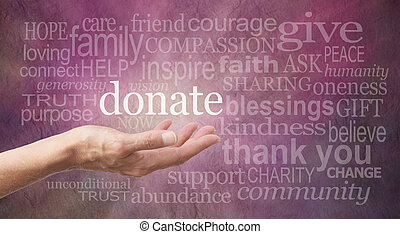 Donate Word Wall - Female hand outstretched with palm side...