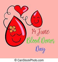 donateur, mondiale, collection, griffonnage, sanguine, jour