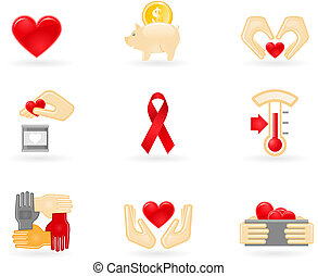Donation and charity icons - Donation and charity icon set