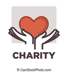 Donation and volunteer work icon. Symbols or logo of human...