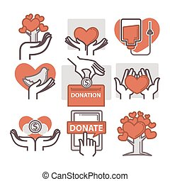 Donation and volunteer work icons. Symbols or logo of human...