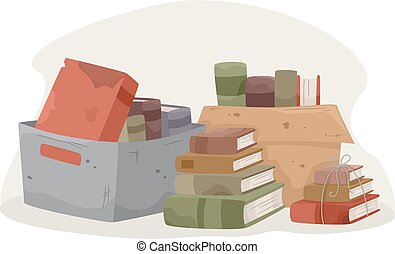 donation, böcker, gammal, buntar, rutor