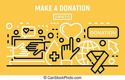 donation, bannière, style, contour, faire