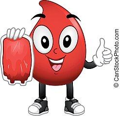 donation, blod, maskot