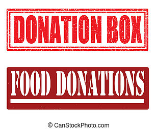 Donation box and food donations stamps