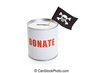 Donation Box and Pirate Flag