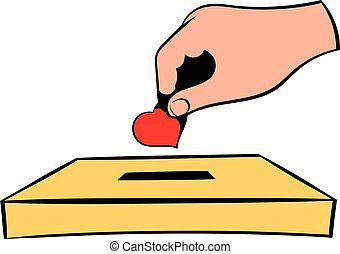 Donation box and red heart icon, in icon cartoon