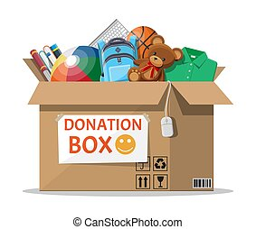Donation box full of toys, books, clothes, devices