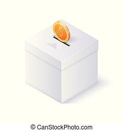 Donation box isolated on white background. Isometric vector illustration