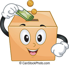 Donation Box Mascot - Mascot Illustration of a Donation Box...