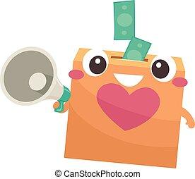 Donation Box Mascot Megaphone Cash Illustration - ...