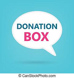 donation box on a speech bubble
