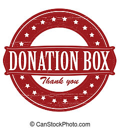 Donation box - Stamp with text donation box inside, vector...
