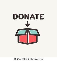 Donation box thin line icon