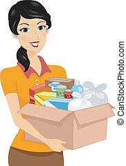 Donation Box - Illustration of a Girl Carrying a Donation...
