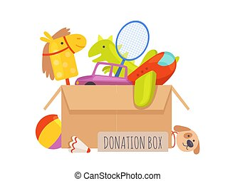 Donation box. Voluntary help children, isolated box with toys. Charity vector illustration