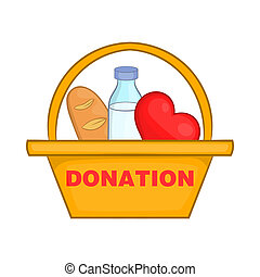 Donation box with food icon, cartoon style