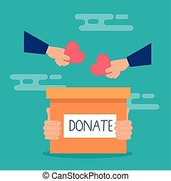 donation, cœurs, mains, boîte, charité