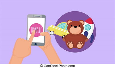 donation campaign for covid19 in smartphone with toys