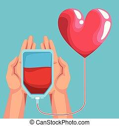 donation, charité, dessins animés, sanguine
