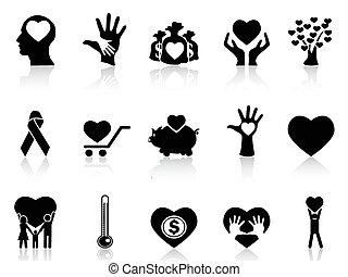 donation, charité, noir, icônes