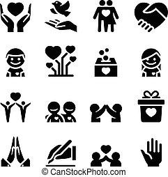 Donation & Charity icons set