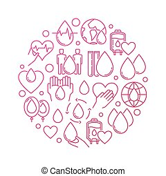 donation, circulaire, sanguine, rouges, signe