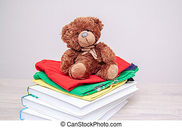Donation concept. Donate things with kids clothes, books, school supplies and toys. Teddy bear. Copyspace for text.