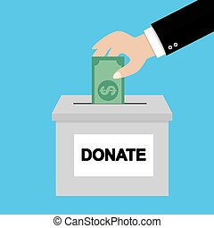 Donation concept. Hand putting money bill in to the donation box.