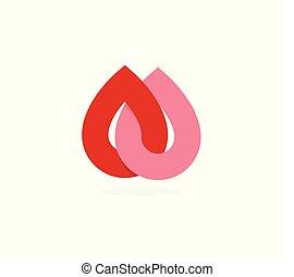 donation, donner, goutte, monde médical, symbole., logotype, clinique, vecteur, deux, template., donateur, icon., symbole, résumé, rouges, sanguine