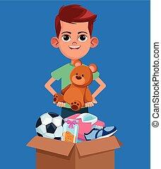 donation, gosse, dessin animé, charité