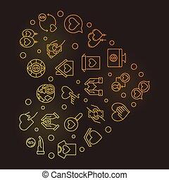 Donation icons in heart shape - vector golden illustration