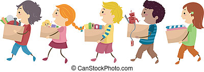 Donation Kids - Illustration Featuring Kids Carrying...