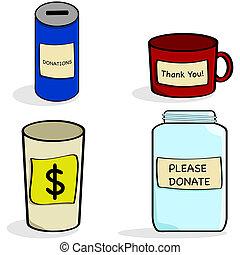 donation, kuper, kruka