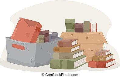 donation, livres, vieux, piles, boîtes