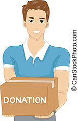 Donation Man - Illustration of a Man Carrying a Donation Box