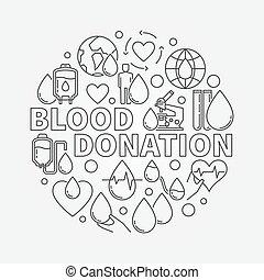 donation, sanguine, illustration, rond