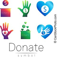 Donation sign icon Set. Donate money box, hand, heart. Charity or endowment symbol. Human helping. on white background. Vector. Violet green blue color.