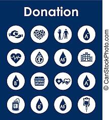 donation, simple, ensemble, icônes