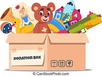 Donation toy box. Cardboard containers with social care and support for pure kids. Vector volunteer charity and help for children