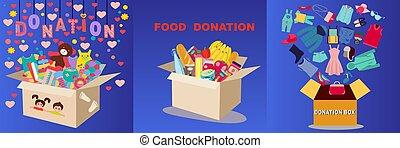 donation, type, boîtes, ensemble, différent