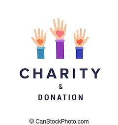 donation, vecteur, bannière, gabarit, charité