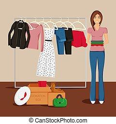donation, vecteur, illustration, vêtements