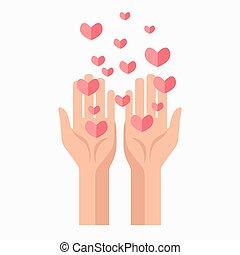 donation, vecteur, sanguine, gabarit, mains, cœurs, charité, icône