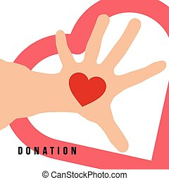 donation with heart on hand in color illustration