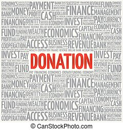 DONATION word cloud collage